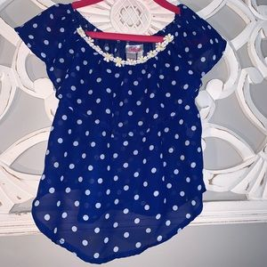 Size 5 blue polka dot swing top by Justice